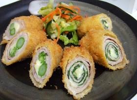 豚モモ肉でアスパラ&シソ巻チーズフライ☆