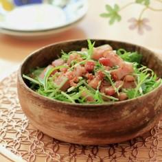 水菜とベーコンのシャキっとサラダ