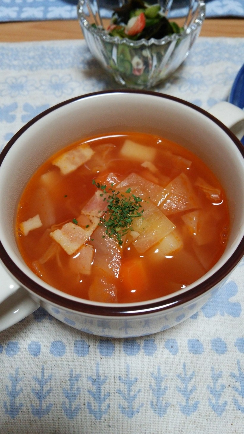 ケチャップで作る☆ミネストローネ風スープ