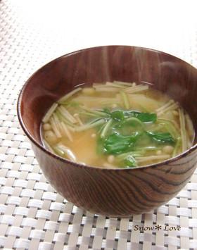 ❁じゃが芋とエノキ茸の味噌汁❁