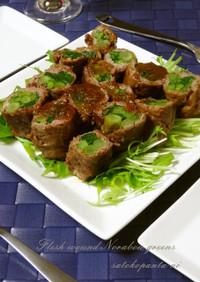 のらぼう菜の肉巻き♡