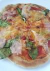 菜の花と生ハムのピザ