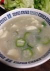 とろ〜り長芋とオクラと豆腐の味噌汁♪
