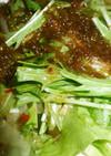 レタスと水菜ともずくのサラダ