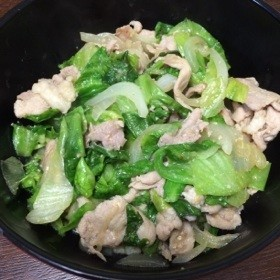 豚肉とレタスの味噌炒め