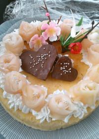 結婚祝い♪寄り添うハートのケーキ