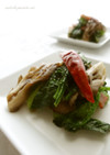 のらぼう菜と舞茸のペペロンチーノ☆