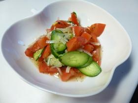 バジルが香るトマトと新玉のマリネサラダ