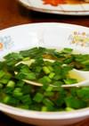 家計に優しい★鶏皮で簡単中華風にらスープ
