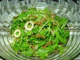 水菜の梅かつおサラダ♪