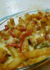 トマトソースで簡単チキンマカロニグラタン