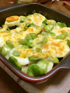 そら豆とゆで卵のちょっと和風♡チーズ焼き