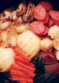 手作りキムチ鍋♡牡蠣,カブ,結び蒟蒻入♪