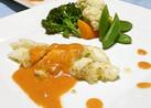 カラスガレイと温野菜をオーロラソースで♪