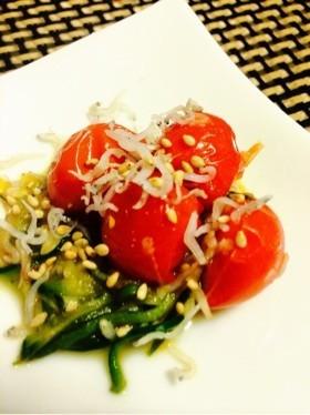 【5分】トマトとキュウリの塩麹ジャコ炒め