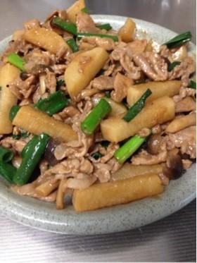 長芋と豚バラの味噌炒め
