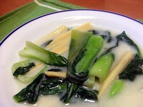 青梗菜とベビーコーンのミルク煮