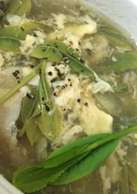 生茶葉と卵スープ(生茶葉料理2014)
