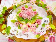 ハム薔薇とくまちゃんのポテトサラダケーキの写真