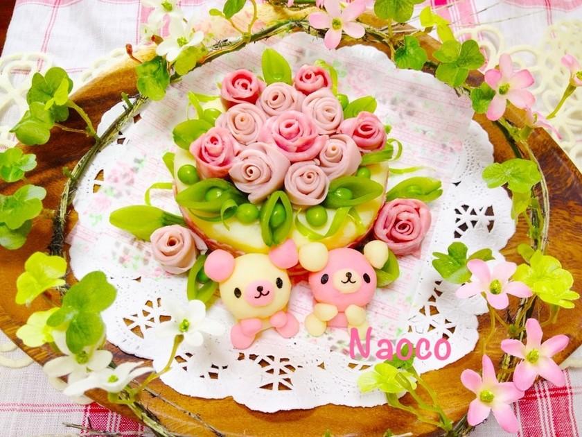 ハム薔薇とくまちゃんのポテトサラダケーキ