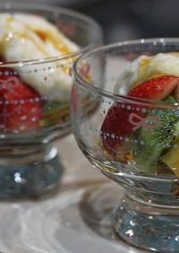 加賀丸芋とろろと黒蜜の果物スウィーツ
