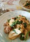 筍とゴロッとひき肉の柚子胡椒和風パスタ