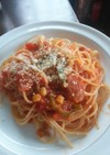 トマトとチーズたっぷりナポリタン
