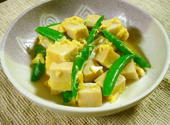 スナップエンドウと高野豆腐の卵とじ
