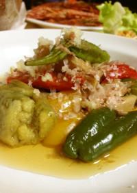 暑い日時短、簡単☆焼き夏野菜の冷製お浸し