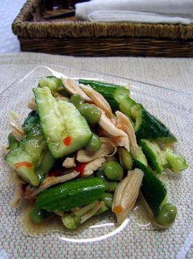 枝豆とたたき胡瓜の甘辛サラダ
