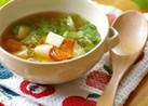 ミニトマトと豆腐とレタスの三色味噌汁