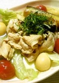 徳山冷麺to豚肉と茄子のポン酢ラー油漬け