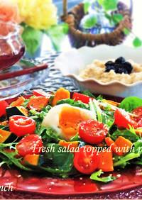 ポーチドエッグと野菜たち