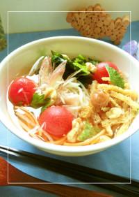 野菜たっぷり♡凍トマトの梅風味和風冷麺