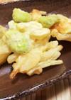 新玉ねぎと空豆と海老のかき揚げ