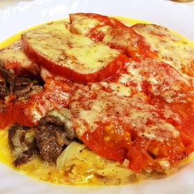 とろーり★トマトと牛肉キャベツの重ね焼き