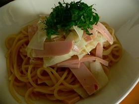 大根と魚肉ソーセージの冷製パスタ