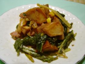 小松菜と揚げポテの炒め物