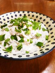 クリームパスタ風?豆腐と梅のもっちり素麺の写真