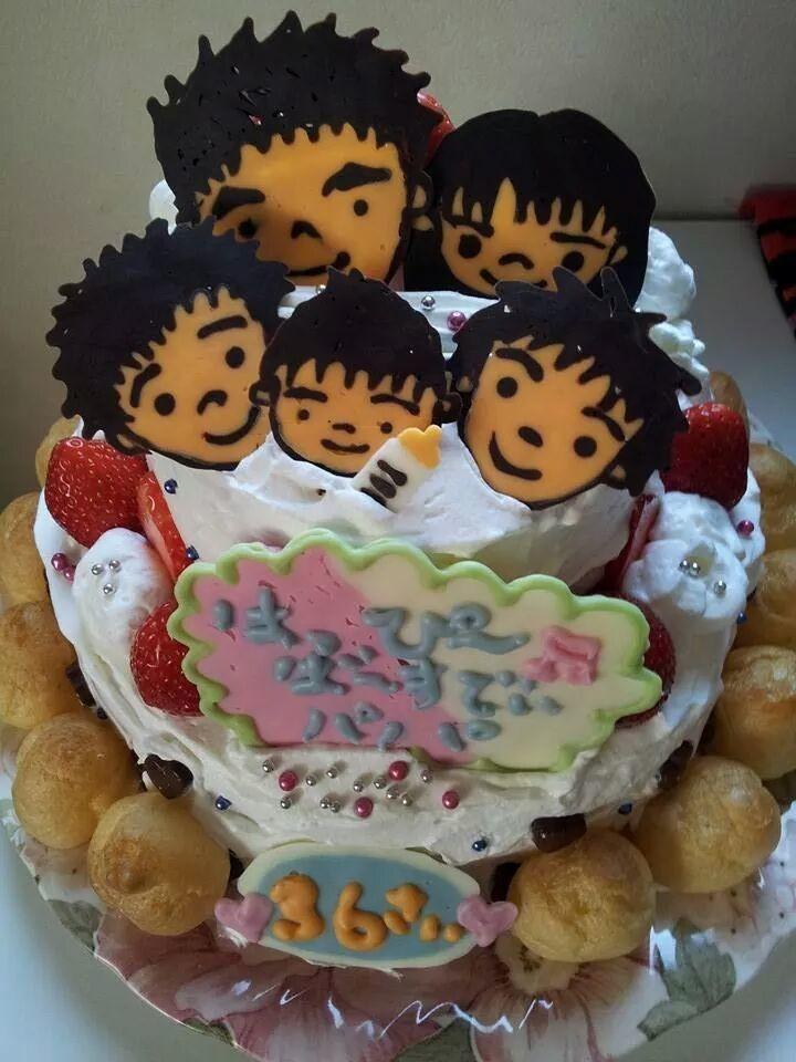 家族の似顔絵バースデイケーキ♪♪