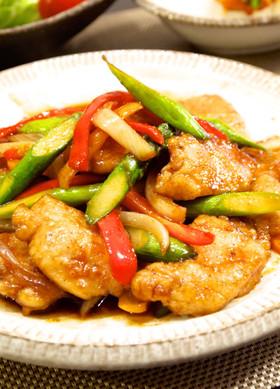 鶏むね肉とアスパラのコチュジャン炒め