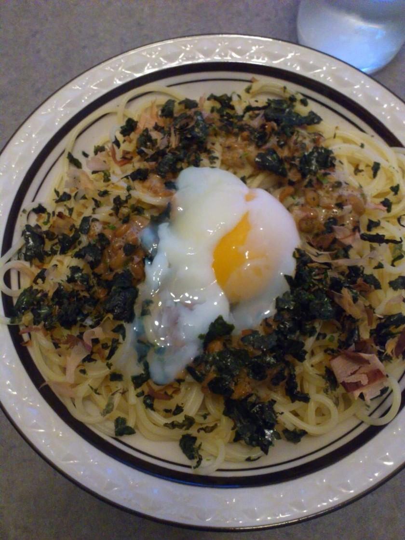納豆と温玉パスタ