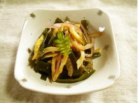 茎わかめ、破竹、紫玉ねぎの和え物