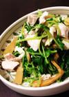 鶏ささみと豆苗の温サラダ
