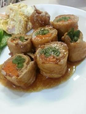 簡単♡野菜の肉巻き~照り焼きソース