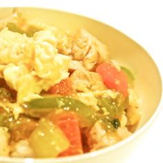 鶏肉とチンゲン菜の八宝菜風丼
