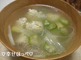 鶏団子とおくらのスープ