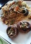 夏野菜と粉チーズのバルサミコパスタ