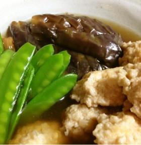 揚げ茄子と鶏団子の煮物