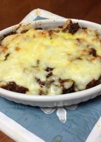 ドライカレー残り☆茄子と茸のチーズ焼き